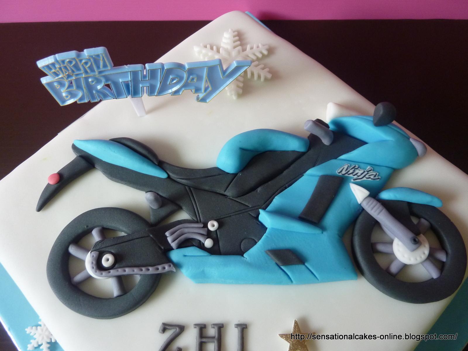 The Sensational Cakes Kawasaki Ninja Motorbike Theme Cake Singapore