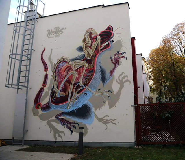 """Anatomy of a Snakebait / Rat"" New Street Art Mural By Austrian Urban Artist Nychos on the streets of Vienna. 1"