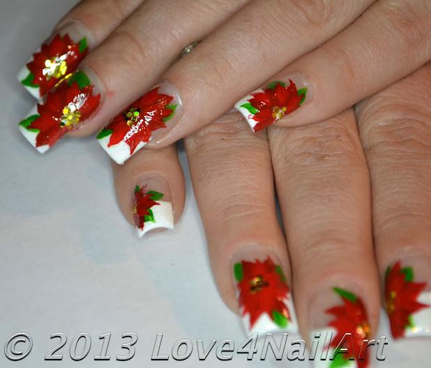 love4nailart holiday poinsettia