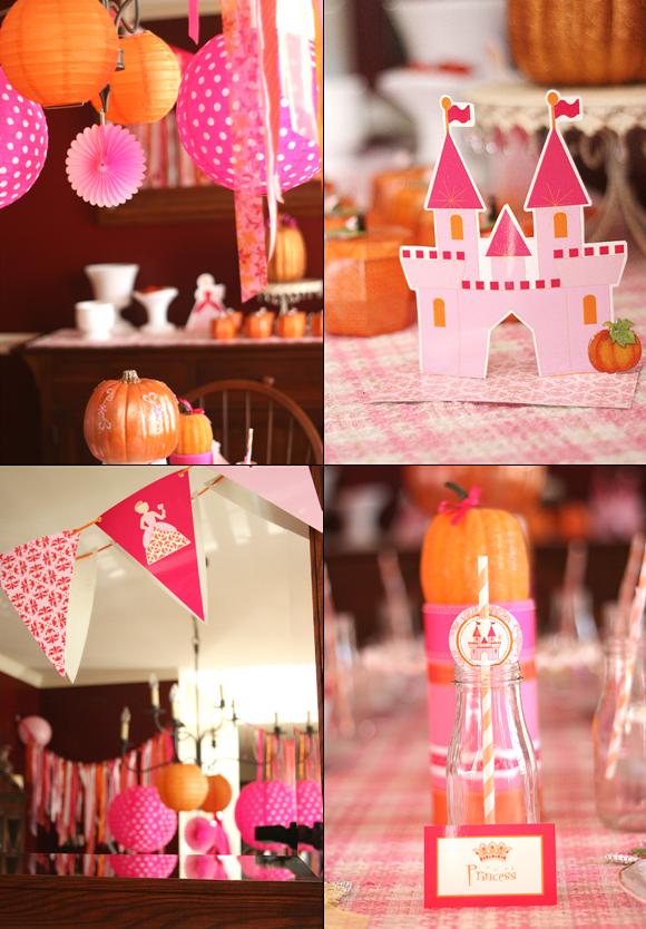 A pumpkin princess birthday tea party party ideas for Princess birthday party crafts