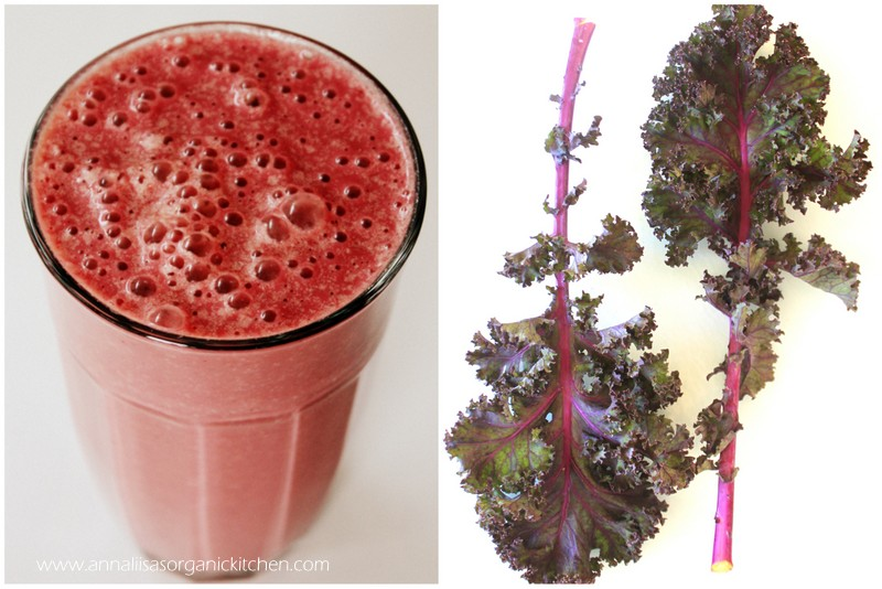 Hydrating kale and raspberry green energy smoothie