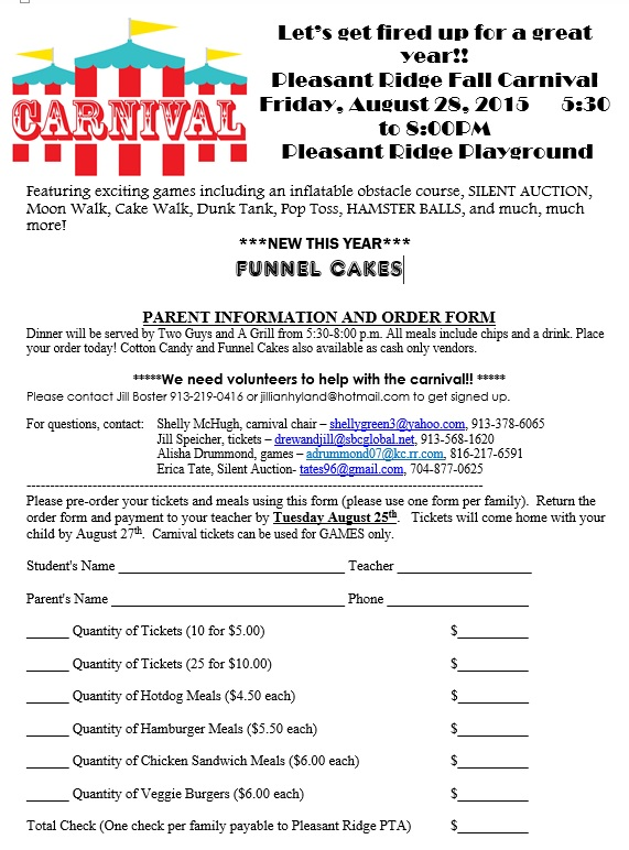 Pleasant Ridge Elementary Carnival Meal Ticket Order form – Ticket Order Form Template