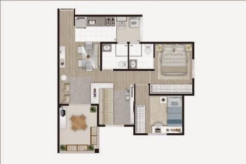 planta apartamento 2 dormitórios barra funda