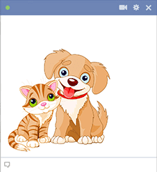Pup and cat sticker for Facebook