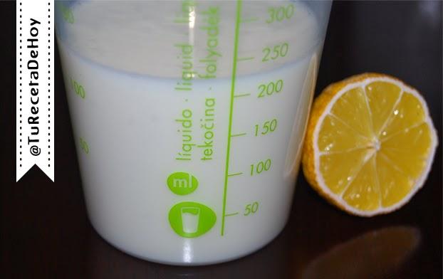 Ingredientes para hacer Suero de mantequilla o buttermilk casero paso a paso