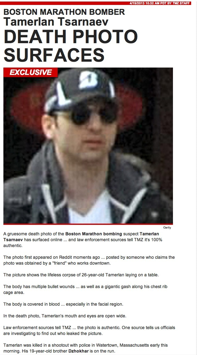 Tamerlan Tsarnaev Death Photo Surfaces: Autopsy Picture On ...