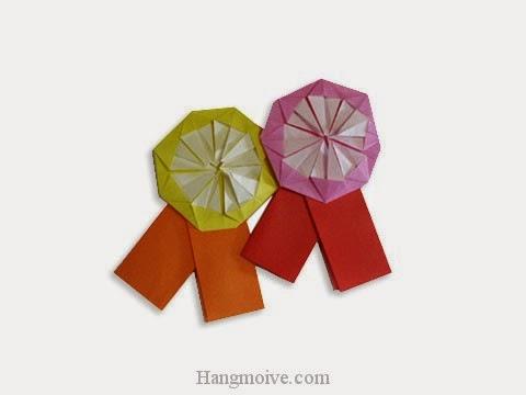 Cách gấp, xếp cái huy hiệu bằng giấy origami - Video hướng dẫn xếp hình đồ thời trang - How to fold a Medal