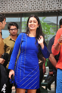 Actress Charmi Kaur Latest Pictures in Short Dress with R Rajkumar Movie Team at Yes Mart 0007
