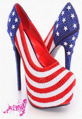 USA flag heel shoes