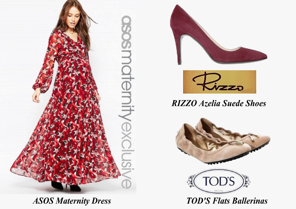 Princess Victoria's ASOS Maternity Dress, RIZZO Azelia Suede Pumps And TOD'S Flats Ballerinas