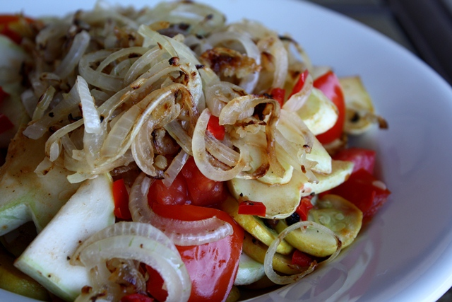 Summer Squash, Onion, Bell Pepper and Tomato Skillet recipe by Barefeet In The Kitchen