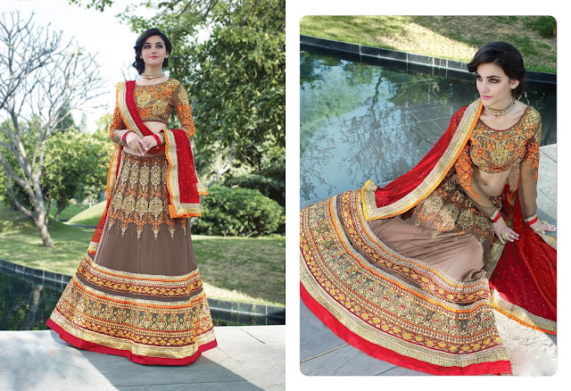 Butta Work Beige Net Embroidered Lehenga With Art Silk Choli