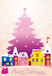 ロマンチックなクリスマスの夜 cartoon christmas ornaments background イラスト素材5