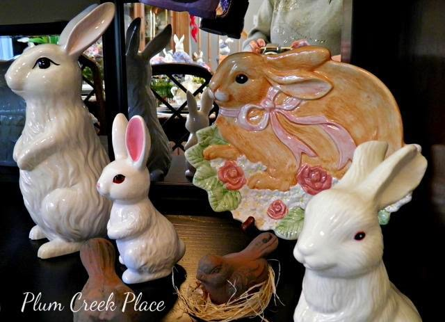 Here comes Peter Cottontail tablescape, Easter, Domestications bunny plates