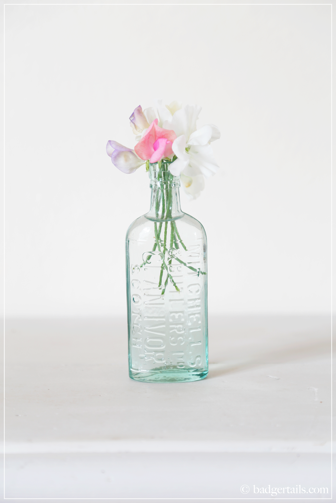 Sweet Peas in Glass Bottle on Badgertails.com