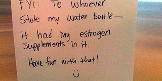 estrogen water 500x250 Funny Signs: Water Bottle with estrogen supplements