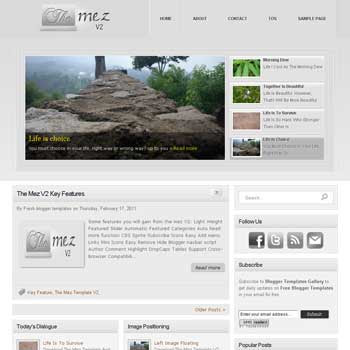 The Mez V2 blogger template convert from wordpress theme to blogger template with image slideshow template