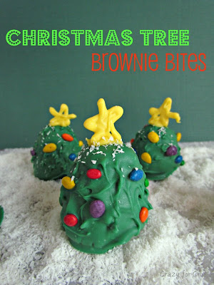 brownie bites decorated like christmas trees