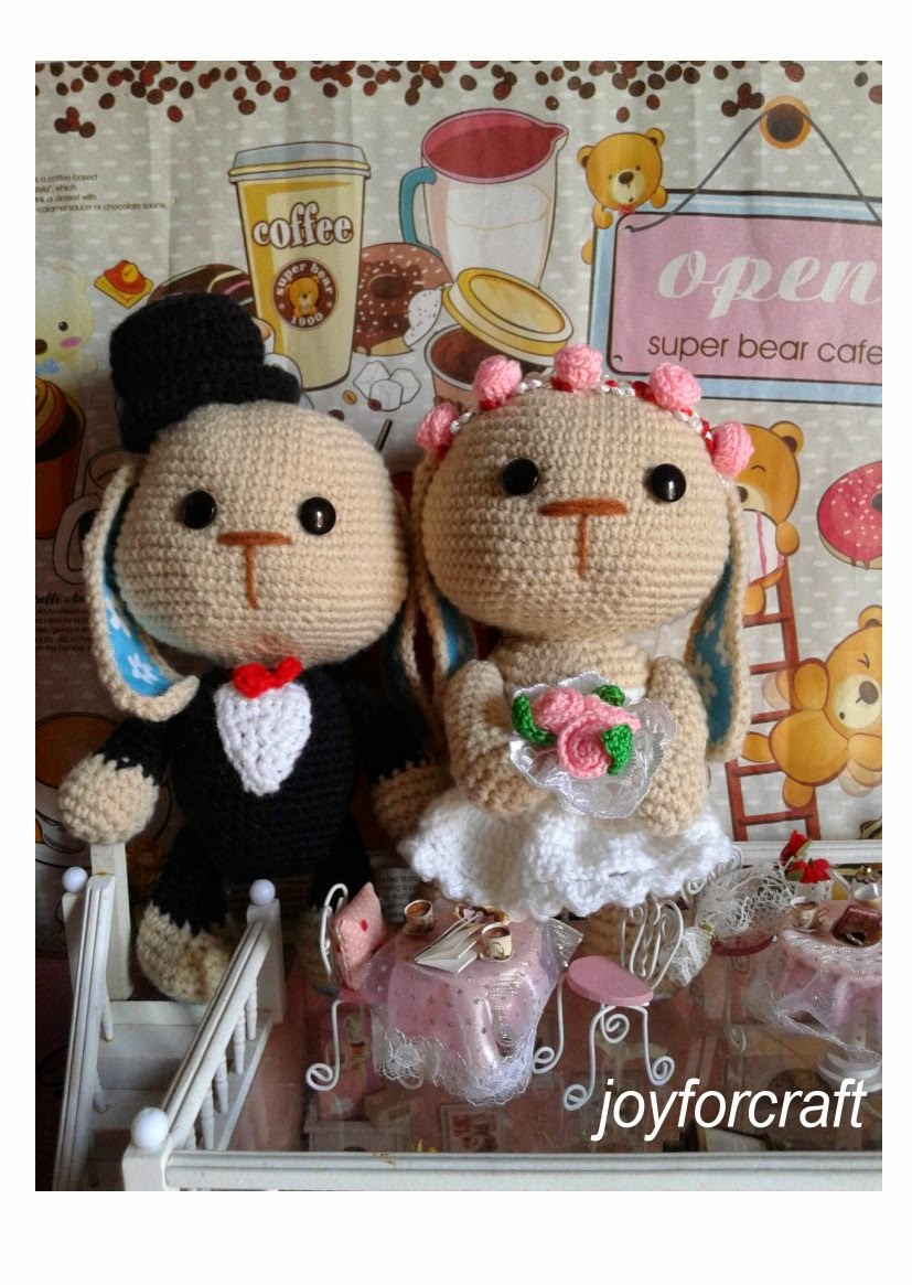 Crochet amigurumi wedding bunny gift set pattern couple adorable love car decoration