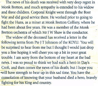 A snip quoting a letter from John Thomas Johnson expressing his sorrow on the death of his friend Thomas Knight