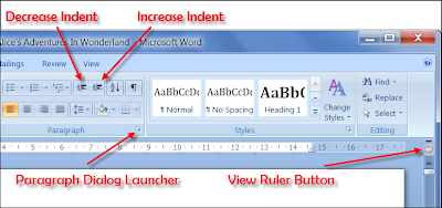 Indent Buttons, Paragraph Dialog Launcher and View Ruler Button