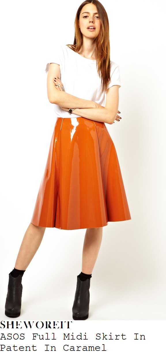 lauren-pope-orange-shiny-pvc-patent-high-waisted-full-midi-skirt