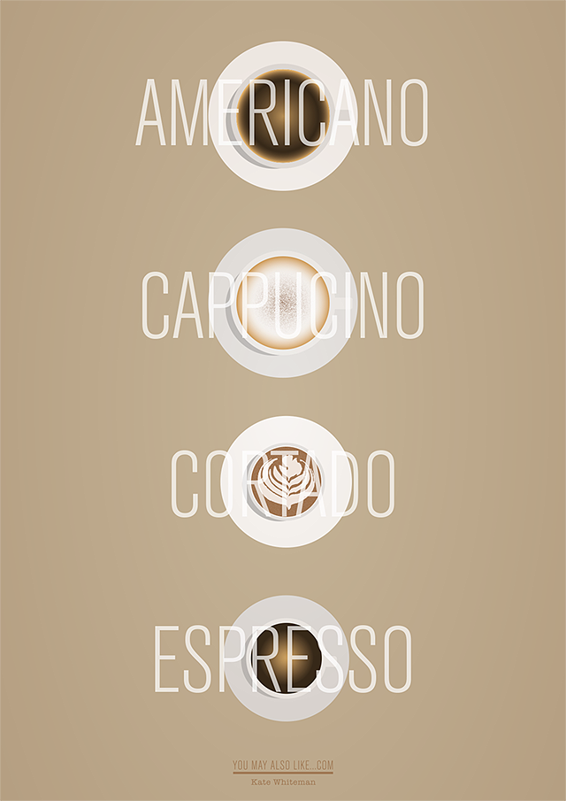 Made by Kate Whiteman, illustration, Typography, Coffee, Americano, Cappucino, Cortado, Espresso