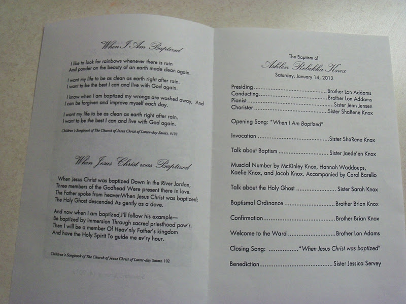 Lds Baptism Program This was the baptismal program