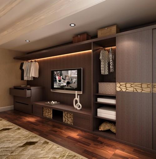 Roupeiros porta deslizante em madeira escura para armário de sala