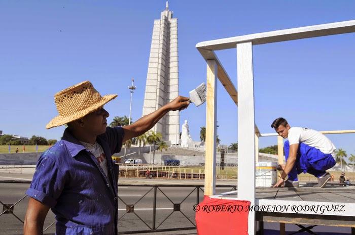 Plaza de la Revolución José Martí, en La Habana, para acoger, este Primero de Mayo, el desfile de los trabajadores