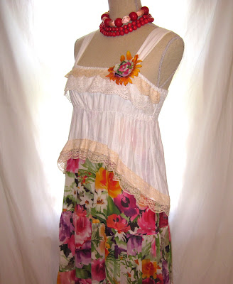 shabby urban chic, white cotton top and flower pattern silk skirt combination