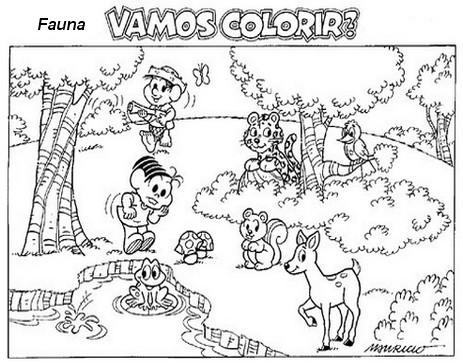 de animais na floresta desenho infantil de paisagem para imprimir car