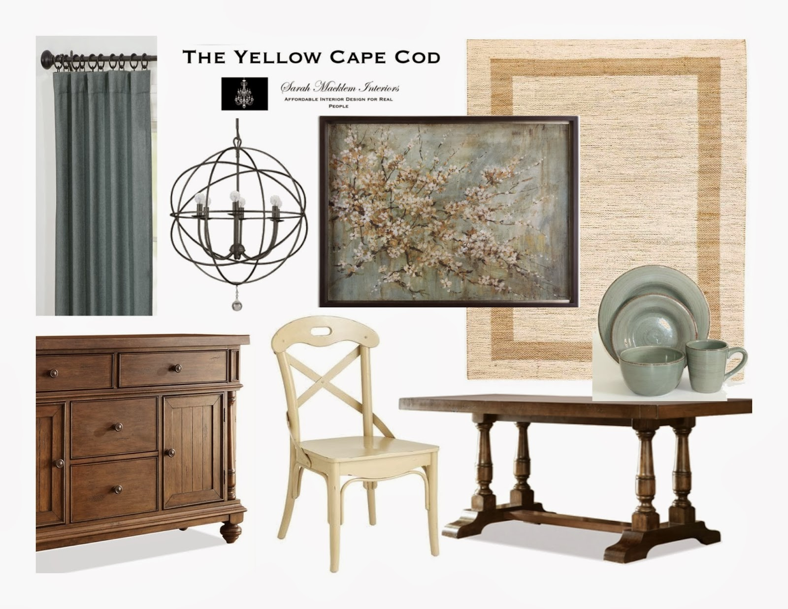 The Yellow Cape Cod: Dining Room and Foyer~Two Spaces One Design