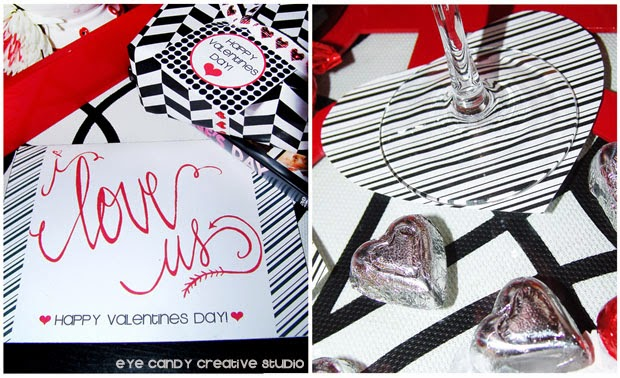 FREE valentines card, hand lettering, i love us, heart shaped coasters, stripes