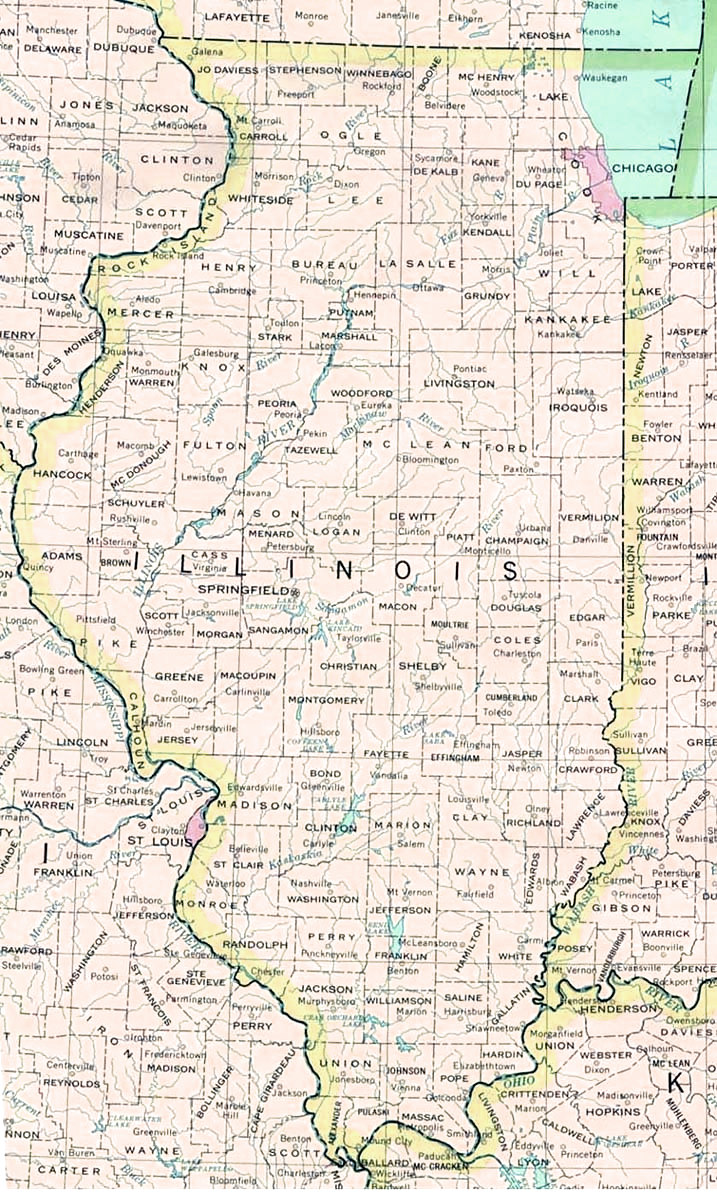 Map of Illinois Cities Counties Illinois State Map Map of USA States