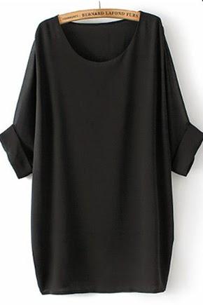 black plain round neck bat sleeve chiffon t-shirt, CiChic.com