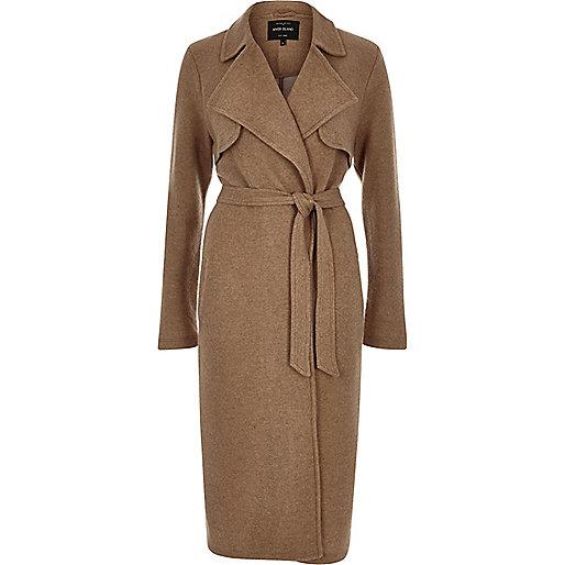 river island camel coat, belted camel coat,