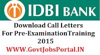IDBI Call Letter 2015