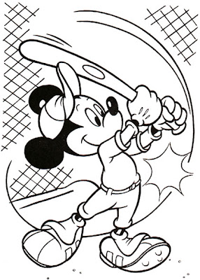 Mickey Mouse Baseball Coloring Page