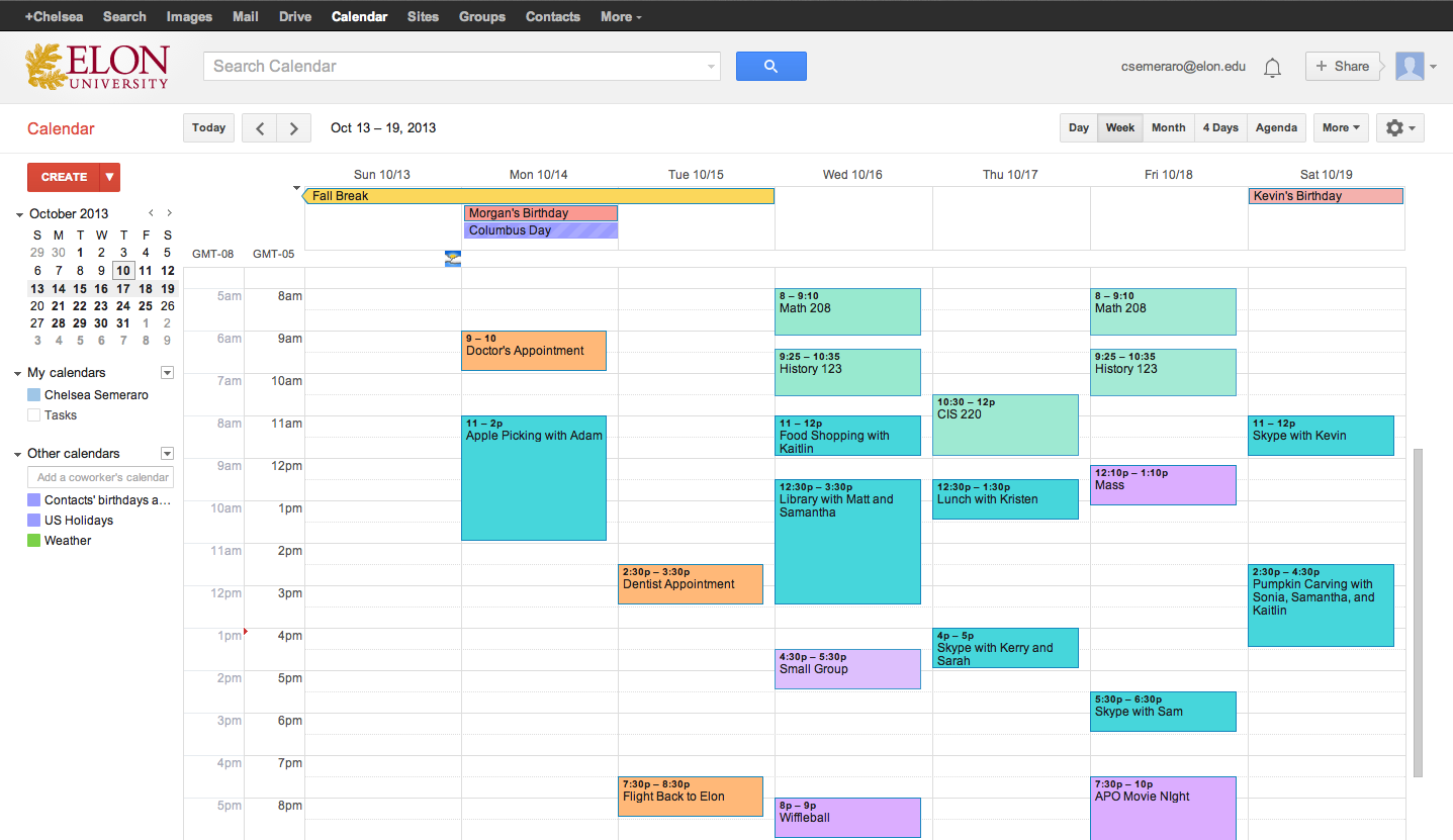 google calendar screen, kalendarz google