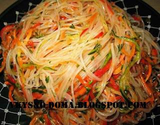 Фунчоза нестандартная со спагетти и овощами