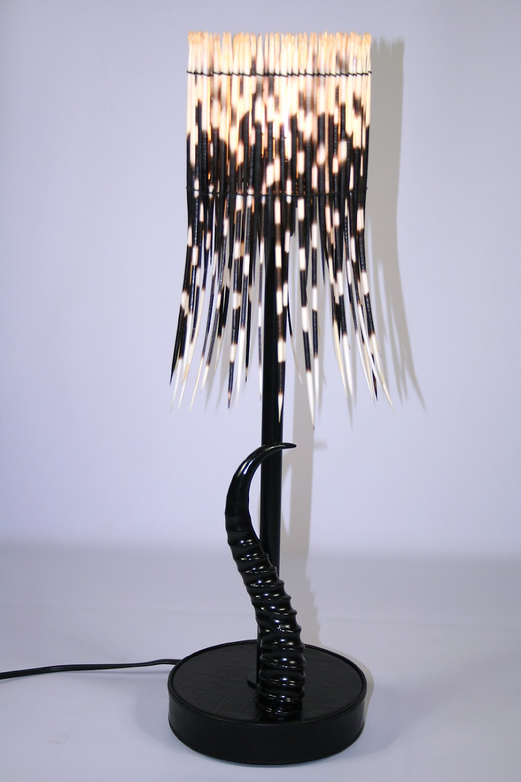 drum porcupine quill xsmall shade and black springbok horn base lamp phases africa