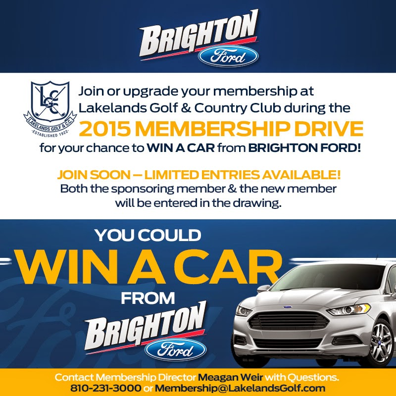 Win a NEW 2015 Ford Fusion with Membership Drive at Lakelands Golf and Country Club!