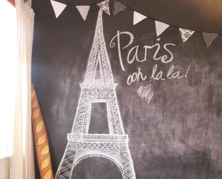 Paris Party photo background - blackboard eiffel tower