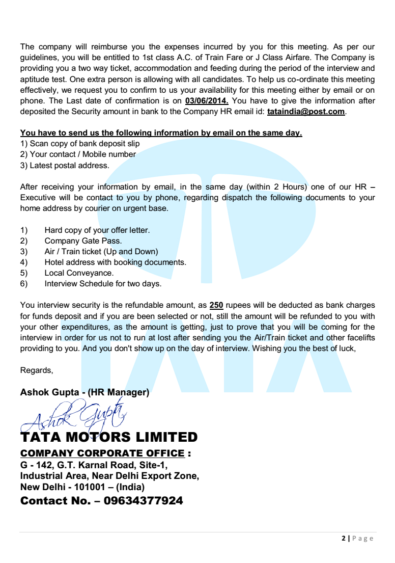 TATA INDIA LIMITED OFFER LETTERBEWARE OF FAKE JOB OFFER LETTER IN