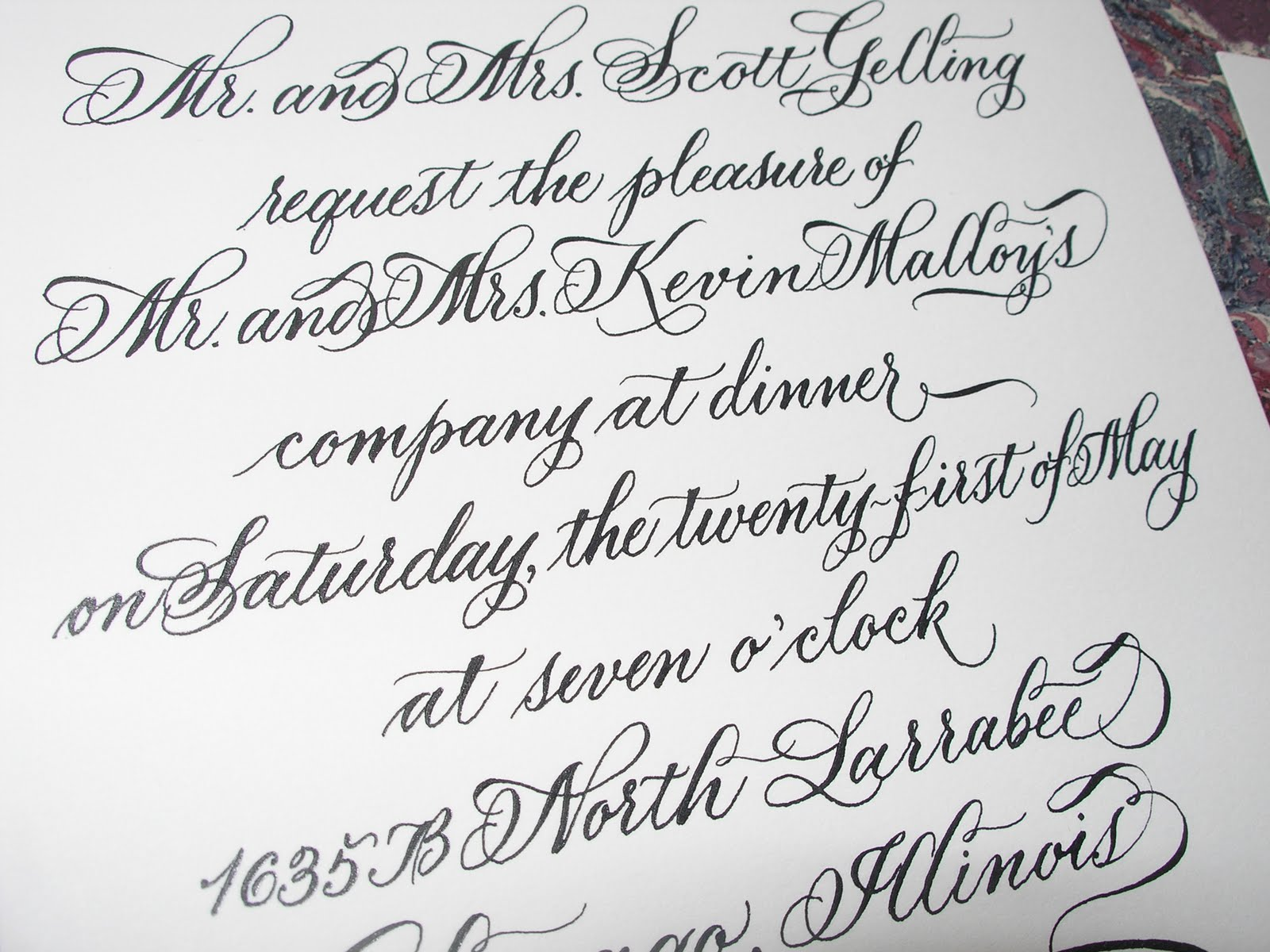 Wedding calligraphy by jane farr 40th birthday dinner party 40th birthday dinner party invitation in calligraphy stopboris Images