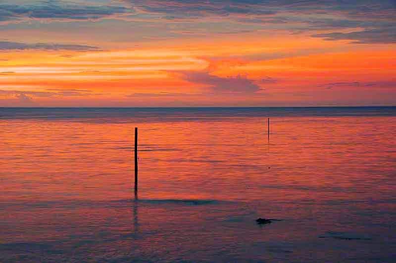 sunset, Izenajima, Okinawa, poles,ocean