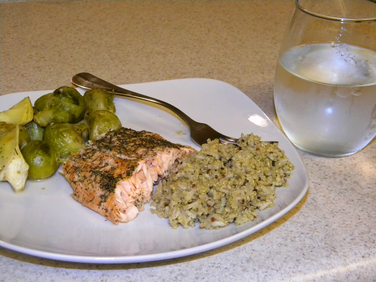 salmon dinner with brussel sprouts
