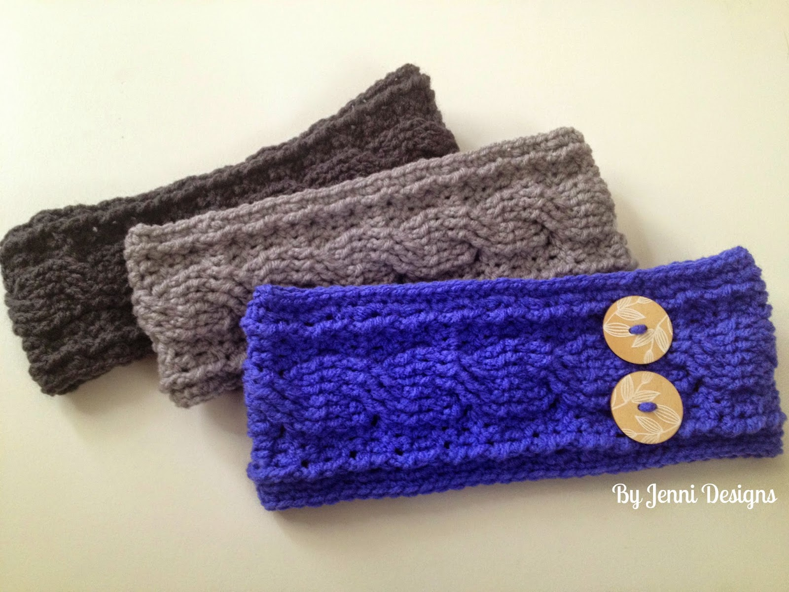 By Jenni Designs: Crochet Cable Ear Warmer Pattern