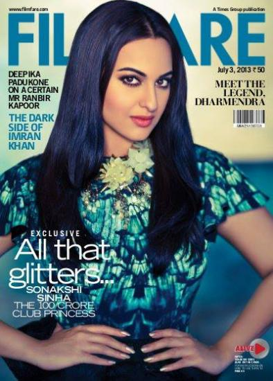 Sonakshi Sinha on the covers of  Filmfare July 2013
